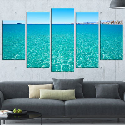 Designart Blue Benidorm Levante Beach Seascape Wrapped Canvas Art Print - 5 Panels