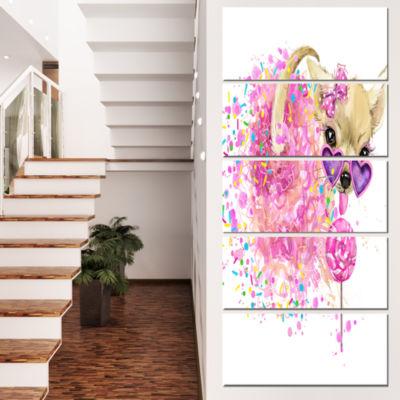 Designart Sweet Pink Dog with Glasses Animal Canvas Wall Art- 5 Panels