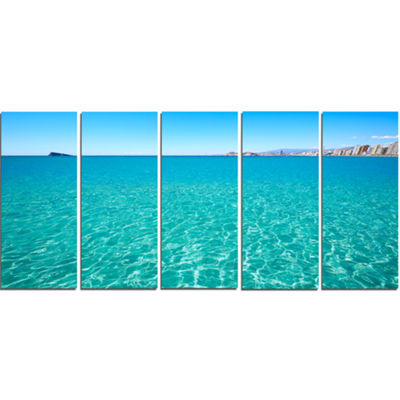 Designart Blue Benidorm Levante Beach Seascape Canvas Art Print - 5 Panels