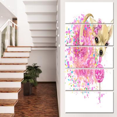 Designart Sweet Pink Dog without Glasses Animal Canvas WallArt - 5 Panels