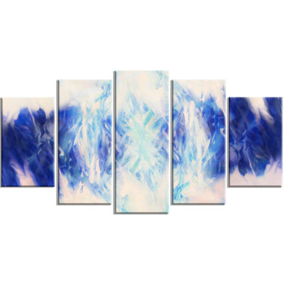 Designart Blue Collage with Spots Contemporary Canvas Art Print - 5 Panels