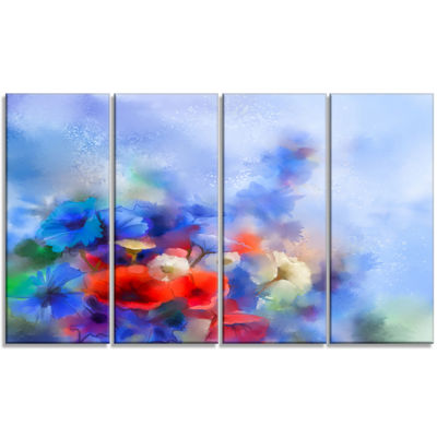 Designart Blue Corn Flowers and Red Poppies FloralCanvas Art Print - 4 Panels