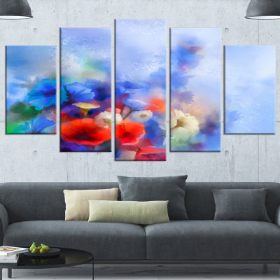 Designart Blue Corn Flowers and Red Poppies FloralWrapped Canvas Art Print - 5 Panels