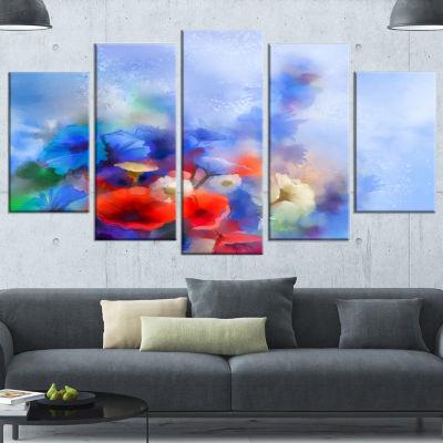 Designart Blue Corn Flowers and Red Poppies FloralCanvas Art Print - 5 Panels