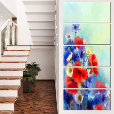 Designart Blue Cornflower and White Daisy FloralCanvas Art Print - 4 Panels