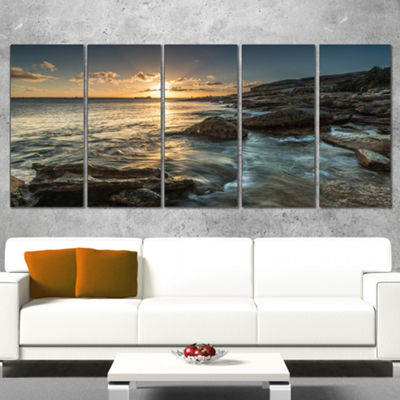 Designart Sydney Beach with Bright Sunset SeascapeWrapped Art Print - 5 Panels