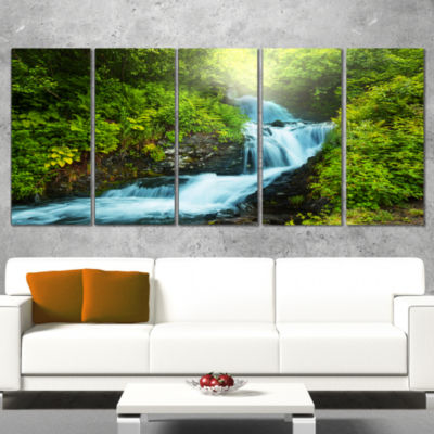 Designart Blue Creek in Green Rain Forest Oversized Landscape Canvas Art - 4 Panels