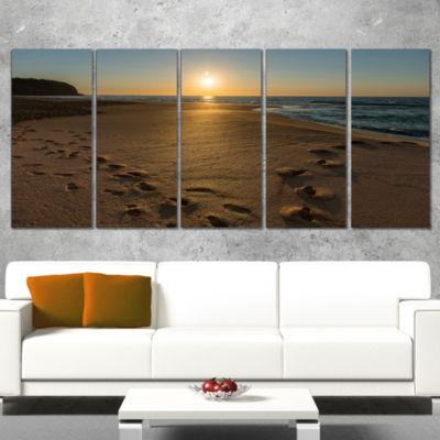 Designart Sydney Seashore at Sunrise Seascape Wrapped Art Print - 5 Panels