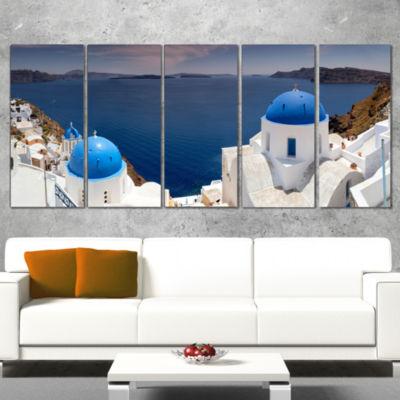Designart Blue Doomes Churches Panorama LandscapePrint Wrapped Wall Artwork - 5 Panels