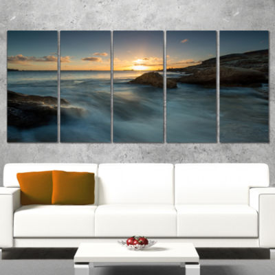 Designart Sydney Seashore at Sunset Seascape Wrapped Art Print - 5 Panels