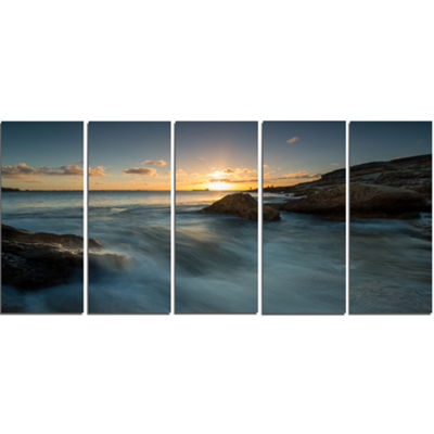 Designart Sydney Seashore at Sunset Seascape Canvas Art Print - 5 Panels