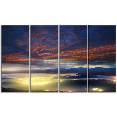 Designart Blue Fiery Overcast at Sunrise LandscapePhoto Canvas Art Print - 4 Panels