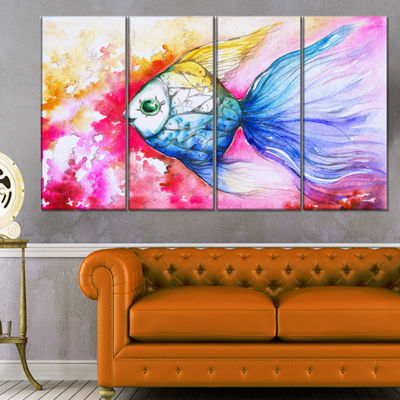 Designart Blue Fish On Red Background Animal Canvas Art Print - 4 Panels