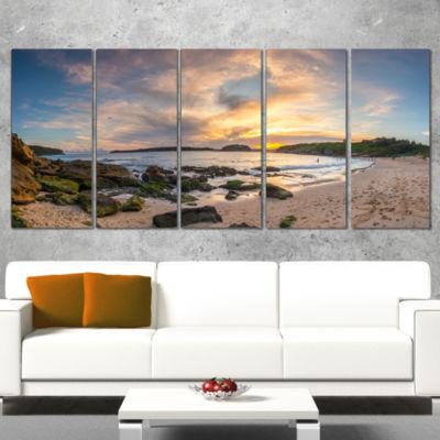 Designart Sydney Seashore During Sunset Seascape Wrapped ArtPrint - 5 Panels