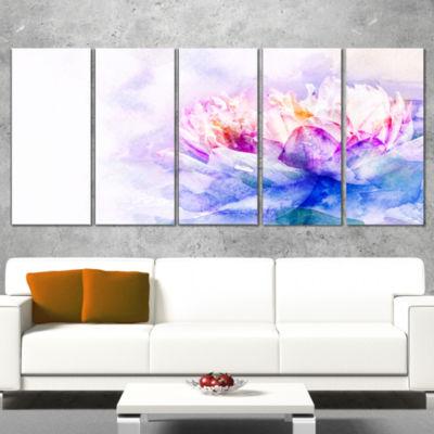 Designart Blue Flower Watercolor Floral Wrapped Canvas Art Print - 5 Panels