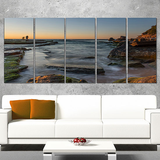 Designart Sydney Sunrise Over Seashore Seascape Wrapped ArtPrint - 5 Panels