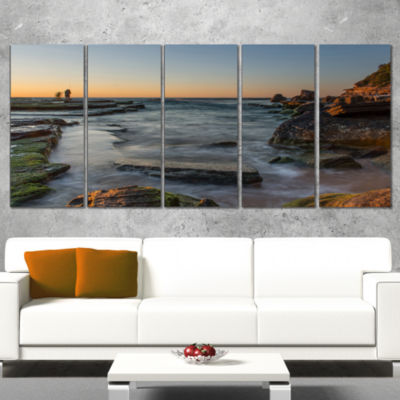 Designart Sydney Sunrise Over Seashore Seascape Canvas Art Print - 5 Panels