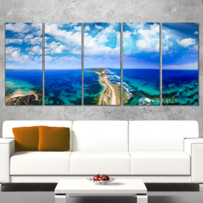 Designart Blue Fort Nepean Road From Helicopter Landscape Wrapped Canvas Art Print - 5 Panels