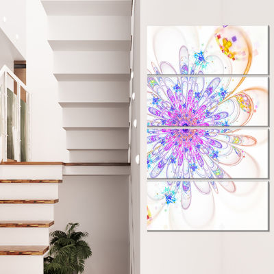 Designart Blue Fractal Flower with Abstract PetalsFloral Canvas Art Print - 4 Panels