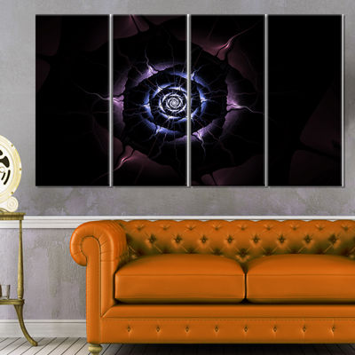 Designart Blue Fractal Flower with Purple Flame Floral Canvas Art Print - 4 Panels