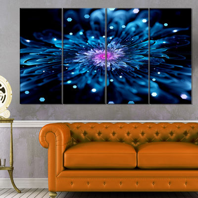 Designart Blue Fractal Flower with Shiny ParticlesFlower Artwork On Canvas - 4 Panels