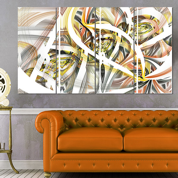 Designart Symmetrical Spiral Fractal Flowers Contemporary Print on Canvas - 4 Panels
