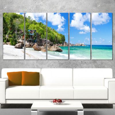 Designart Takamaka Beach in Mahe Island Modern Seascape Canvas Artwork - 4 Panels