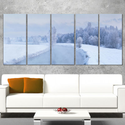 Designart Blue Frosty Winter Weather Panorama Landscape Print Wall Artwork - 5 Panels