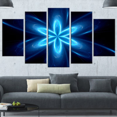 Designart Blue Glowing Space Fractal Flower FlowerArtwork On Wrapped Canvas - 5 Panels
