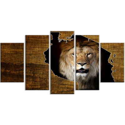 Designart Tanzania Wildlife Map Design Abstract Wrapped Artwork - 5 Panels