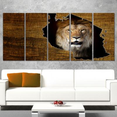 Designart Tanzania Wildlife Map Design Abstract Canvas Artwork - 5 Panels