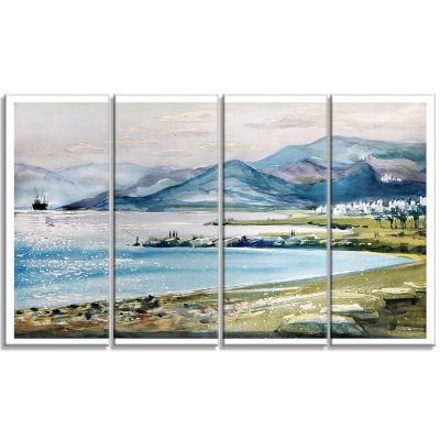 Designart Blue Hills Over Sea Landscape Art PrintCanvas - 4 Panels