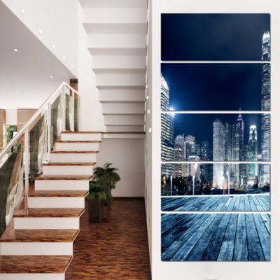 Designart Blue Hong Kong City Skyline Cityscape Canvas Print- 5 Panels