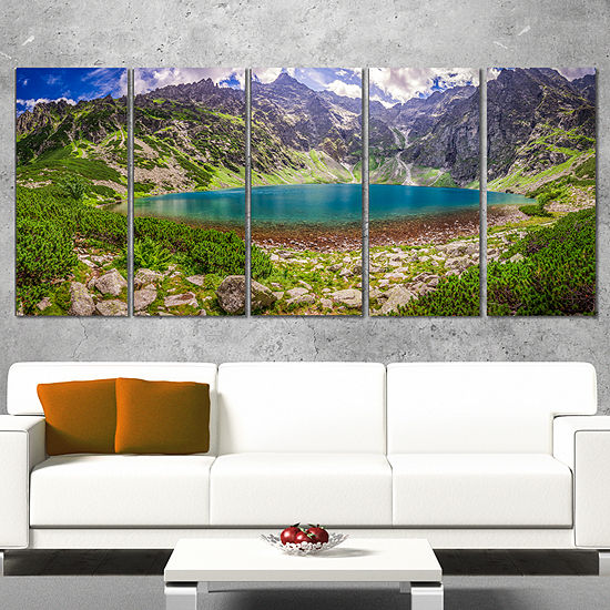 Designart Tatra Mountains at Dawn Panorama Landscape CanvasArt Print - 5 Panels