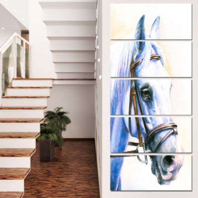 Designart Blue Horse with Bridle Abstract CanvasArt Print -4 Panels