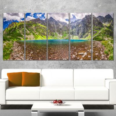 Designart Tatra Mountains Lake Panoramic View Landscape Canvas Art Print - 5 Panels