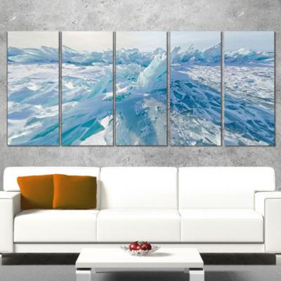 Designart Blue Ice Hummocks in Siberia Lake BaikalLandscapeArtwork Wrapped Canvas - 5 Panels