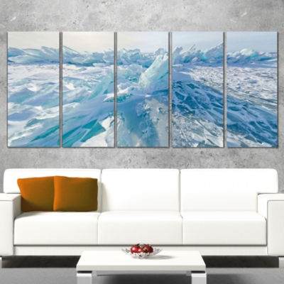 Designart Blue Ice Hummocks in Siberia Lake BaikalLandscapeArtwork Canvas - 5 Panels