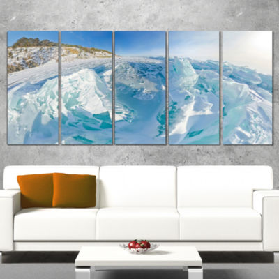 Designart Blue Ice Mountains in Lake Baikal Siberia Landscape Artwork Canvas - 4 Panels