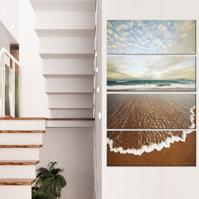 Designart Tea Plantation Under Cloudy Sky Landscape Wall Arton Canvas - 4 Panels