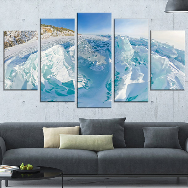 Designart Blue Ice Mountains in Lake Baikal Siberia Landscape Artwork Wrapped Canvas - 5 Panels