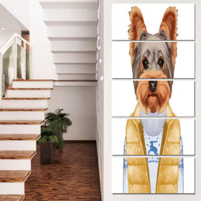 Designart Terrier in Down Vest and Sweater AnimalCanvas ArtPrint - 4 Panels