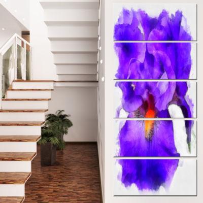 Designart Blue Iris Flower Sketch Watercolor Floral Canvas Art Print - 4 Panels