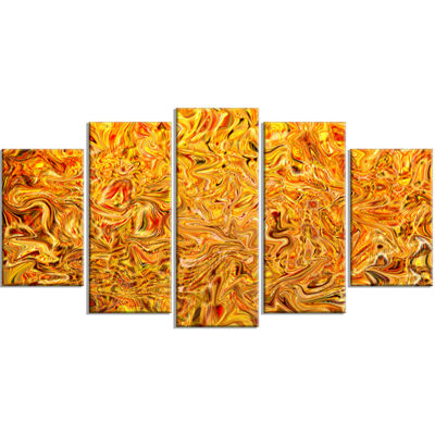 Designart Textured Flowing Yellow Abstract CanvasArt Print- 4 Panels