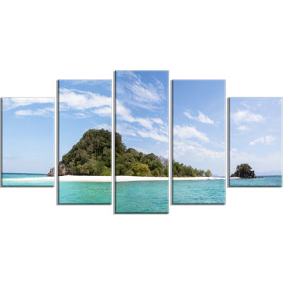 Designart Blue Koh Khai Island Panorama Large Seascape Art Wrapped Canvas Print - 5 Panels