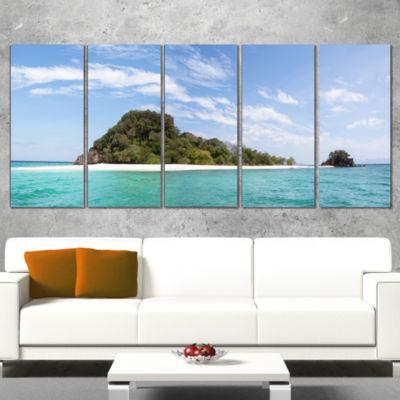 Designart Blue Koh Khai Island Panorama Large Seascape Art Canvas Print - 5 Panels