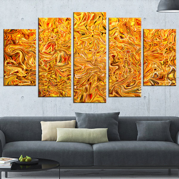 Designart Textured Flowing Yellow Contemporary Canvas Art Print - 5 Panels