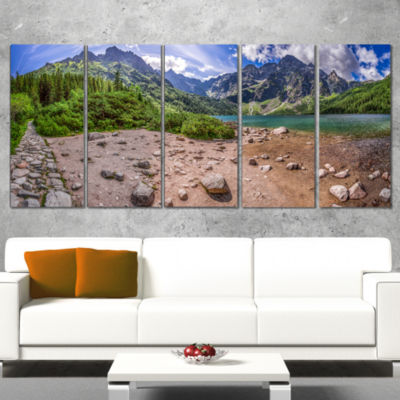 Designart Blue Lake Amid Mountains Panorama Landscape Wrapped Canvas Art Print - 5 Panels