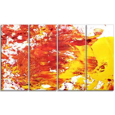 Designart Textured Red and Yellow Art Abstract Canvas Print- 4 Panels