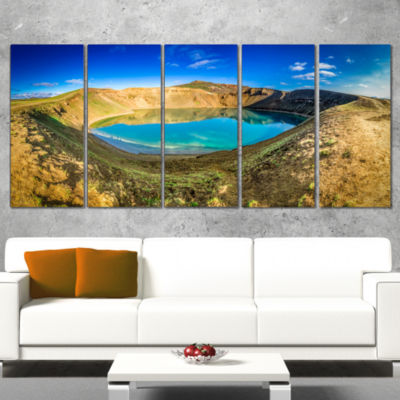 Designart Blue Lake in The Crater of Volcano Landscape PrintWrapped Wall Artwork - 5 Panels